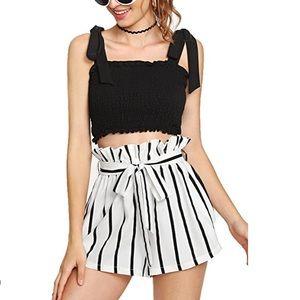 Striped elastic waist paperbag beach shorts